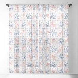 Flying Insect Bugs Seamless Pattern Sheer Curtain