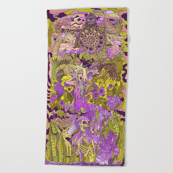 Garden Pansy Beach Towel