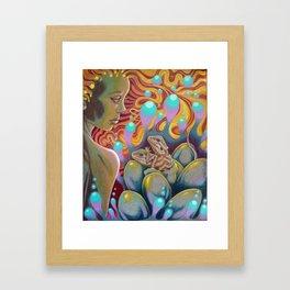 The Egg Maiden, Bearded Dragon Lizard Art Framed Art Print