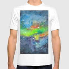 space scene with stars and nebula Mens Fitted Tee MEDIUM White