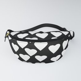 Hearts Heart Teacher White on Black Fanny Pack
