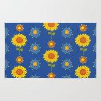 ukraine Area & Throw Rugs featuring Sunflowers of Ukraine by rusanovska