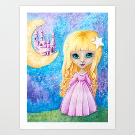 Castle Dreams Girl Art Print