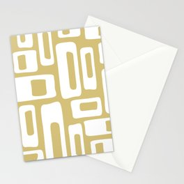 Retro Mid Century Modern Abstract Pattern 335 Gold Stationery Cards