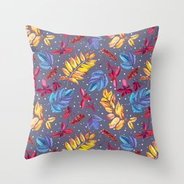 Winter seamless pattern with rowan berry and leaves and snow watercolor. Throw Pillow