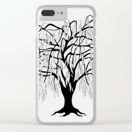 weeping willow on the gray background Clear iPhone Case