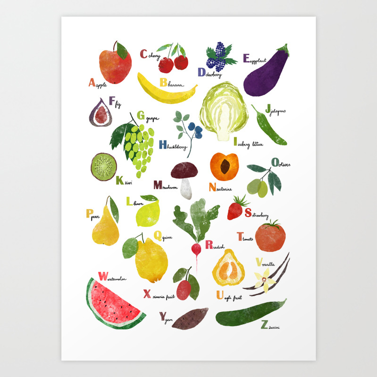 English Fruit And Vegetables Alphabet Art Print By Imali Society6