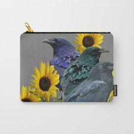 THREE CROWS/RAVENS  YELLOW SUNFLOWERS ON GREY ART Carry-All Pouch