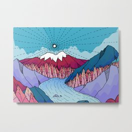 The blue sky river mountains Metal Print