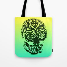 Sugar Skull - Ombre Yellow and blue Tote Bag