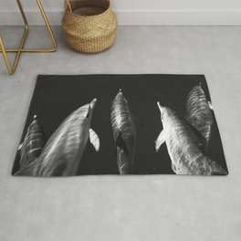 Beautiful wild dolphins black and white Rug
