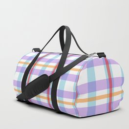 Gridlines of purple, blue and red on white Duffle Bag