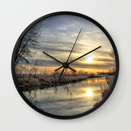 Along The River Bank 3 Wall Clock
