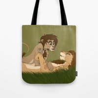 larry stylinson Tote Bags featuring Lion King!Larry by Pass The Pencil