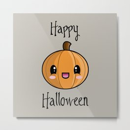 Happy Halloween Pumpkin Kawaii :) Metal Print