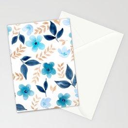 Meraki Blue Fields on White Stationery Cards