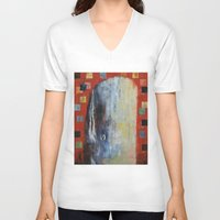 dick V-neck T-shirts featuring Moby Dick by Michael Creese