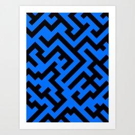 Black and Brandeis Blue Diagonal Labyrinth Art Print