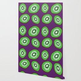 Bright Purple and Green Kiwifruit Pattern Wallpaper