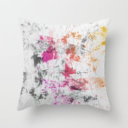 Blotchy Summer Paint Texture on White Throw Pillow