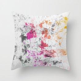 Blotchy Summer Paint Texture on White Throw Pillow