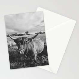 Black and White Highland Cow Stationery Cards