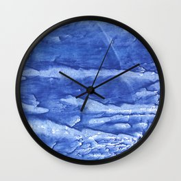 Steel blue vague watercolor painting Wall Clock