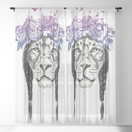 King of lions Sheer Curtain