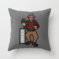 freddy krueger Throw Pillows featuring Freddy Krueger by AhamSandwich