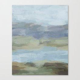 Sky Gray Blue Sage Green Abstract Wall Art, Painting Art, Lake Nature Painting Print, Modern Canvas Print