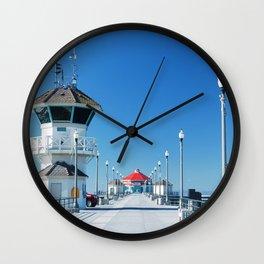 A Winter's Day Huntington Beach Pier Wall Clock