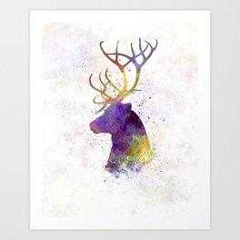 Reindeer 01 in watercolor Art Print