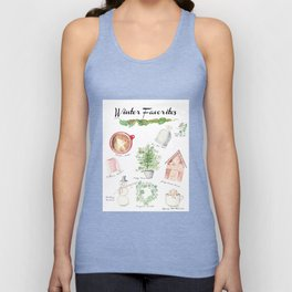 Winter Favorites in Watercolor Unisex Tank Top