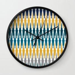 Boho, Geometric Pattern, Blue, Teal, Yellow and Gray Wall Clock