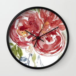Loose watercolor roses flowers Wall Clock