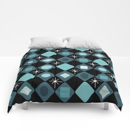 Mid Century Modern Black & Turquoise Diamonds Comforters