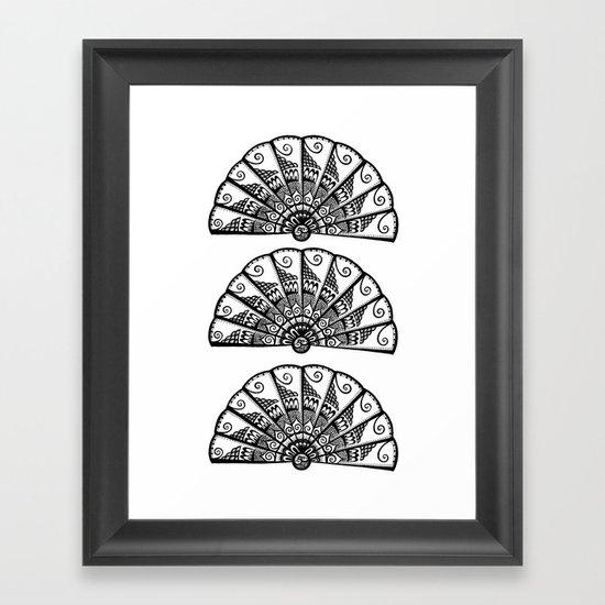 Triple Fan Framed Art Print