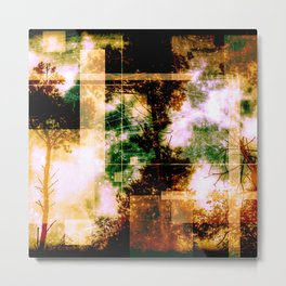 forest memories Abstract Green and Orange Fire Metal Print