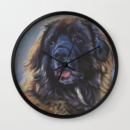 Leonberger dog art portrait from an original painting by L.A.Shepard Wall Clock