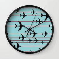planes Wall Clocks featuring Planes by Frances Roughton
