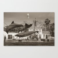 dolphin Canvas Prints featuring Dolphin by Sébastien BOUVIER