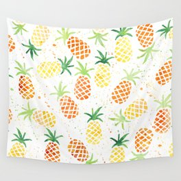 Pineapple, Summer, Yellow and Green Wall Tapestry