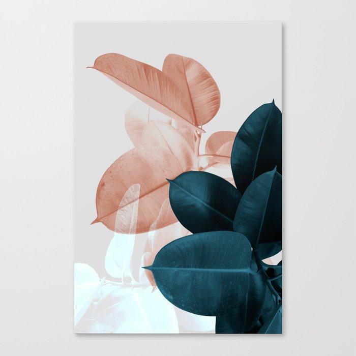 Blush & Blue Leaves Leinwanddruck