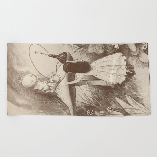 Alice in Wonderland With the Caterpillar  Beach Towel