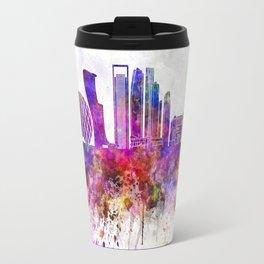 Abu Dhabi V2 skyline in watercolor background Travel Mug