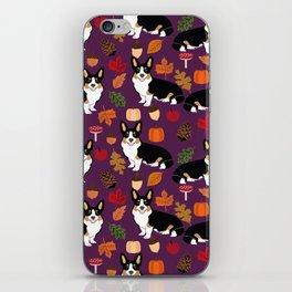 Tricolored Corgi autumn woodland pillow print iphone case phone case corgis cute design iPhone Skin