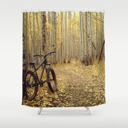 Golden Aspen Mountain Biking Shower Curtain