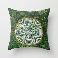 tree rings Throw Pillows featuring Tree Rings by Zoë Miller