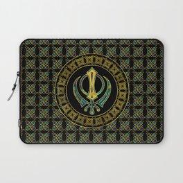 Gold and Marble Khanda symbol Laptop Sleeve