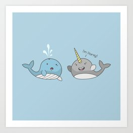 Horny Narwhal Art Print